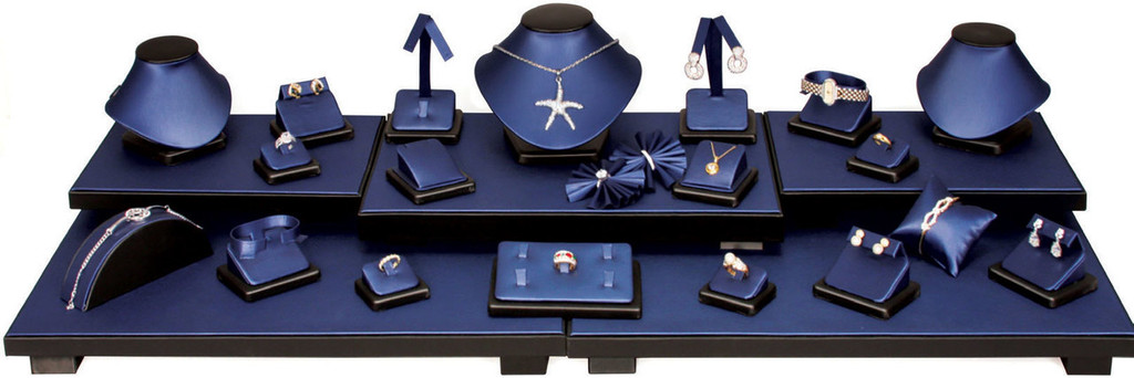 Steel Blue with Black Trim Faux Leather 26-Piece Jewelry Display Set (SET35-R88)