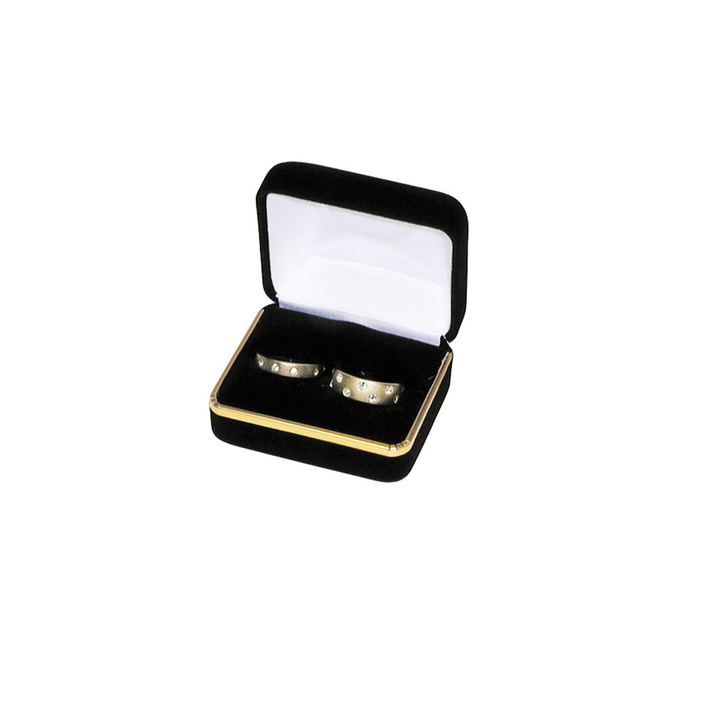 """Velvet Double Ring Box with Gold Trim, 2 3/8"""" x 2"""" x 1 1/2"""",(Choose from various Color)"""