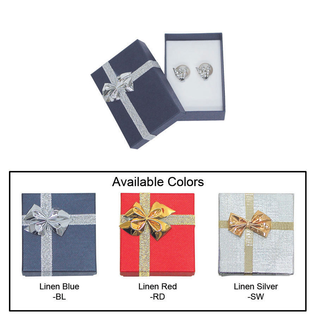 """Linen bow tie earring box , 2 1/8"""" x 3 1/8"""" x 1"""" , Choose from various Color"""