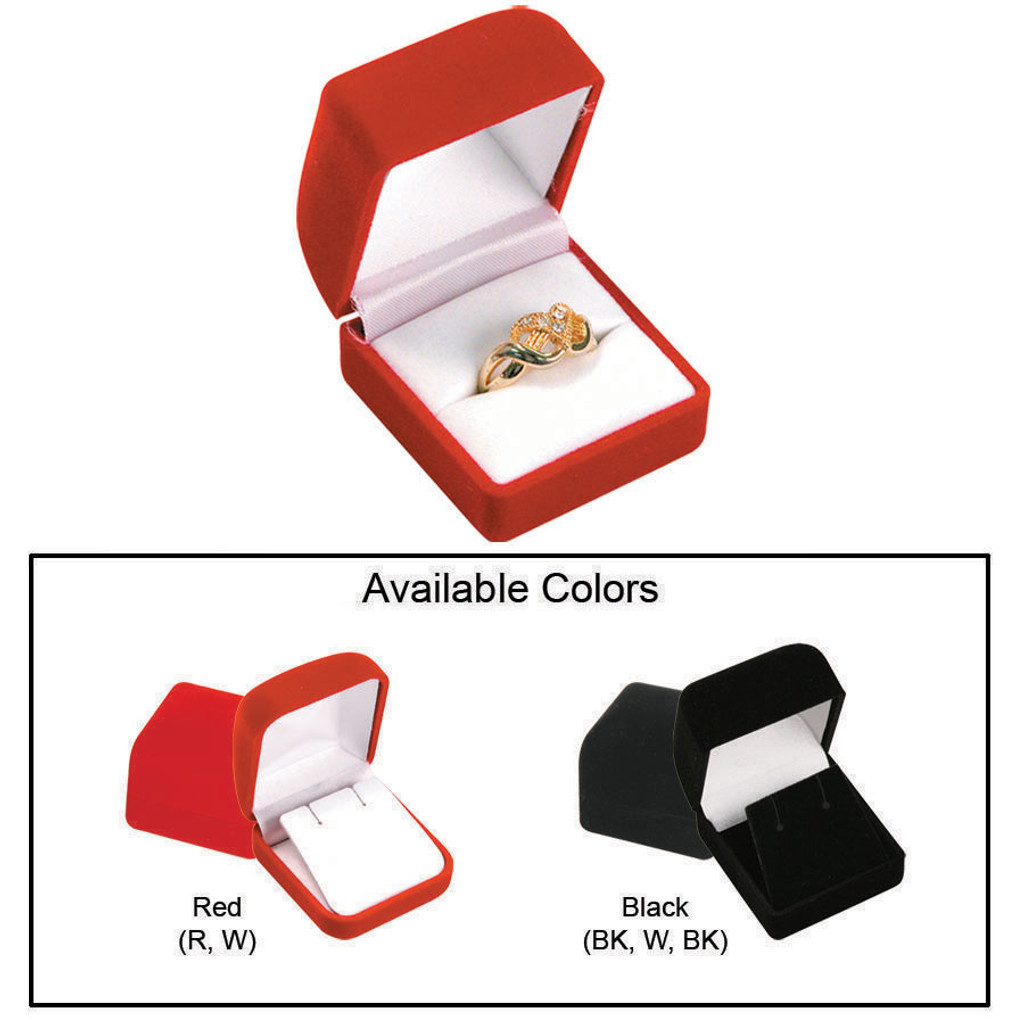 """Ring Box,Flocked Velour Value, 1 3/4"""" x 1 7/8"""" x 1 1/2"""", Choose from various Color"""