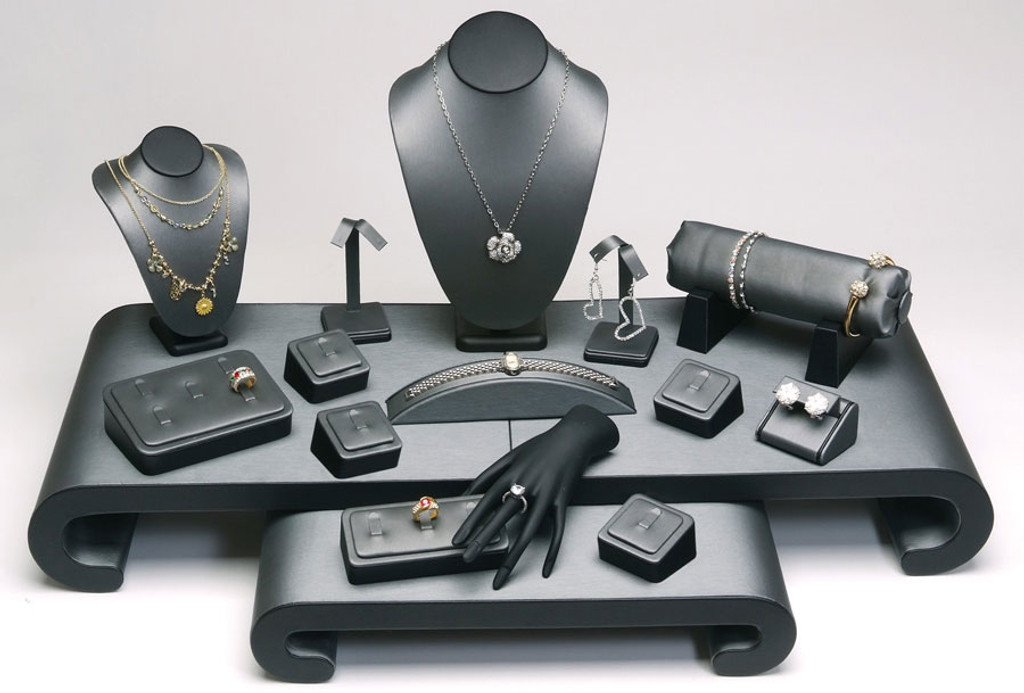 """17-Pieces Steel Grey with Black Faux Leather Jewelry Display Set , 30 1/4"""" x 22"""" x 15 1/4""""H"""