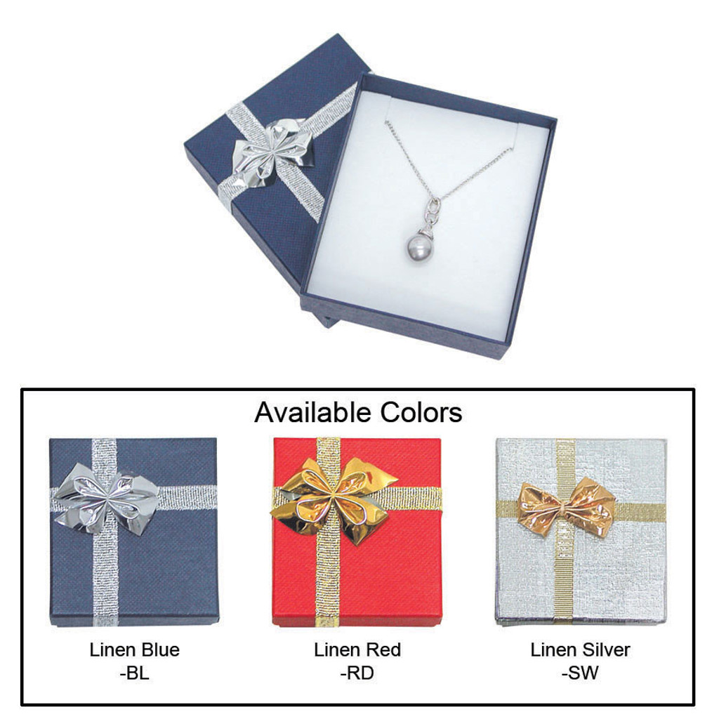 """Linen bow tie pendant/earring box , 2 3/4"""" x 3 1/8"""" x 1"""" , Choose from various Color"""