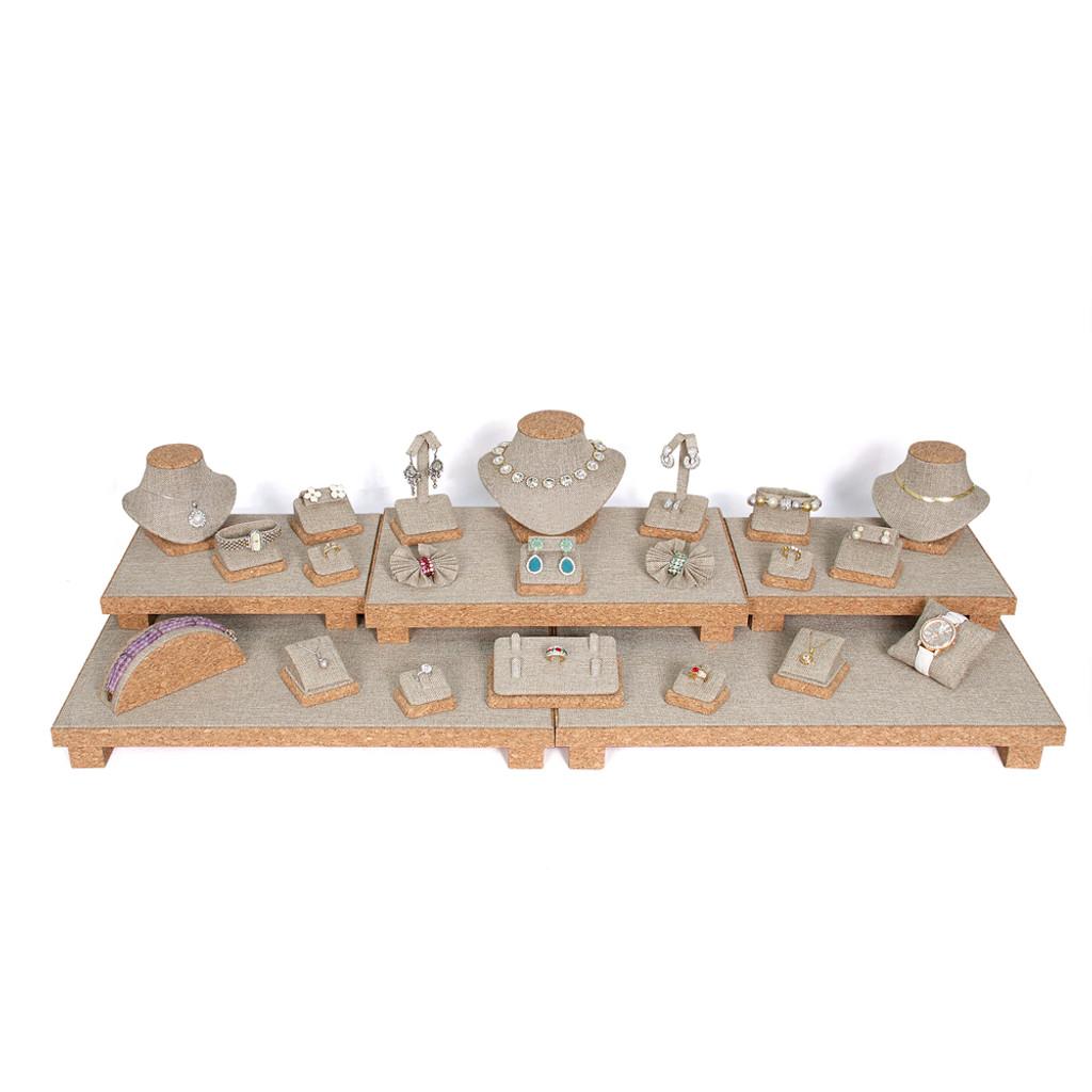 "Display set (burlap, cork trim),26pcs, 40.25x16x9.75""H"
