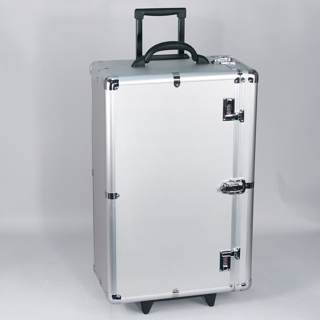 """Tall Aluminum case side-open w/handle (for24 tray), 16 3/8"""" x 10 1/2"""" x 28 1/2""""H"""