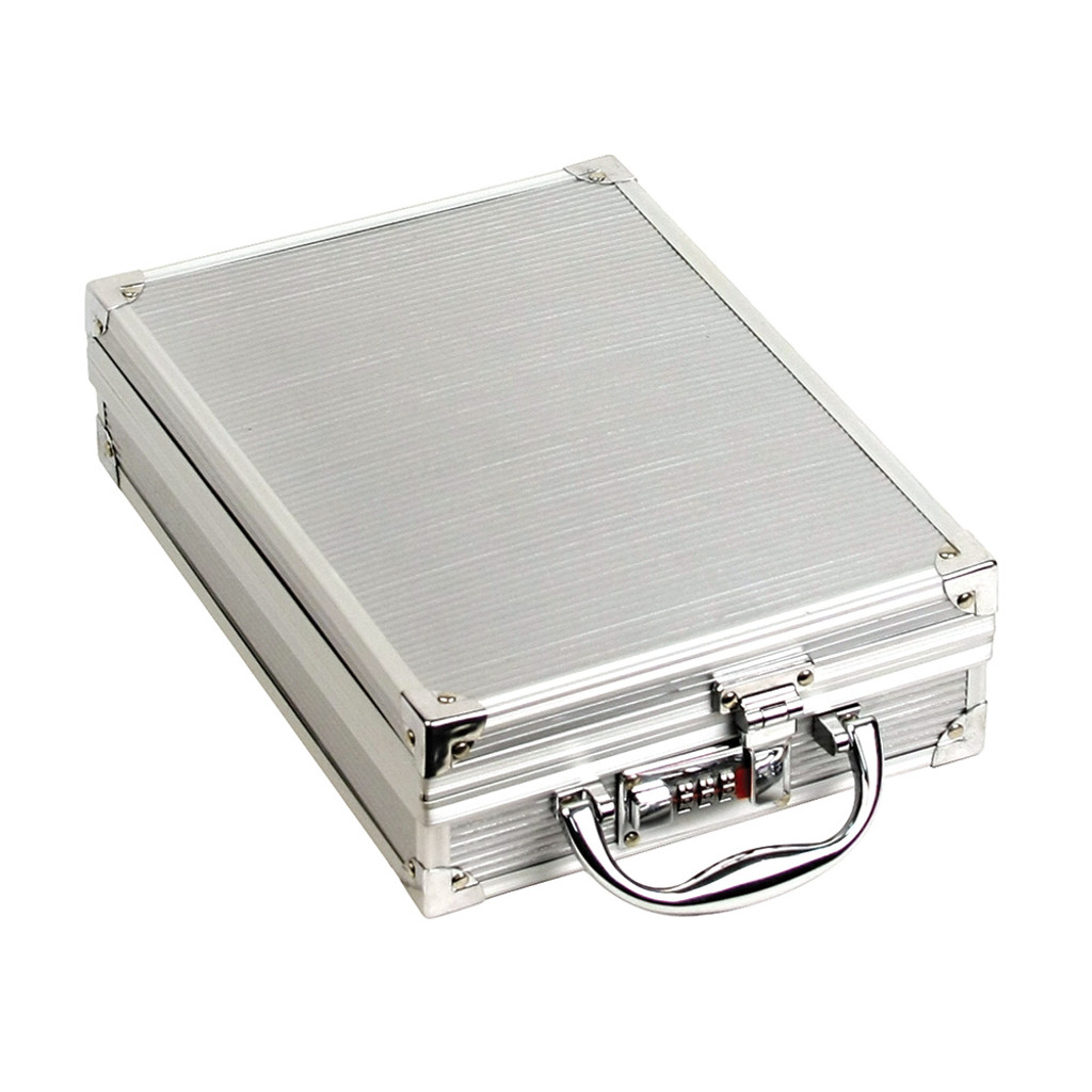 "Small Aluminum attache case, 8 1/2"" x 12"" x 3 1/8""H"