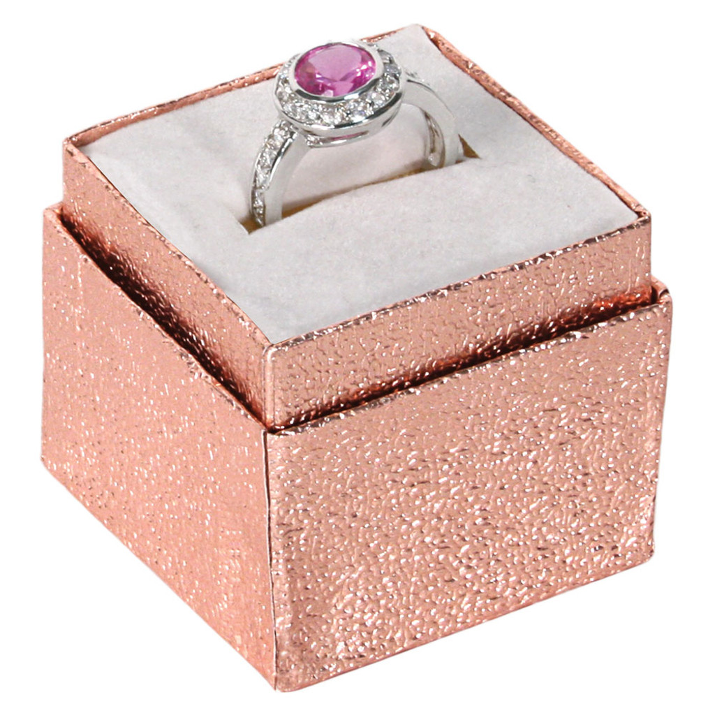 """Ring Box, 1 3/4"""" x 1 3/4"""" x 1 5/8""""H, Rose Gold,Foil ,Price for 100 Pieces."""