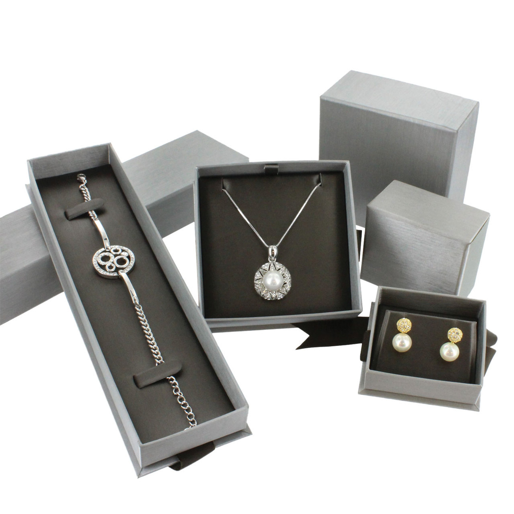 steel grey pendant earring box with ribbon eds box supply co