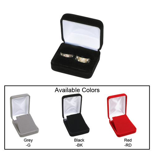 """Velvet metal  double ring box , 2 3/8"""" x 2"""" x 1 1/2""""H ,Choose from various Color"""
