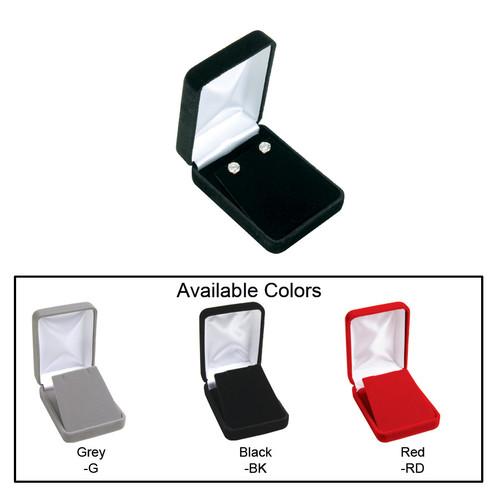 "Velvet metal pendant/earring (flap) box , 2 1/4"" x 3"" x 1 1/4""H , Choose from various Color"
