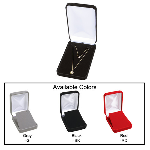 """Velvet metal necklace box , 4 1/4"""" x 7"""" x 1 5/8""""H , Choose from various Color"""