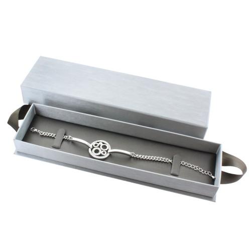"""Steel Grey Bracelet/Watch Box with Ribbon , 8 5/8"""" x 2 3/8"""" x 1 3/8"""","""