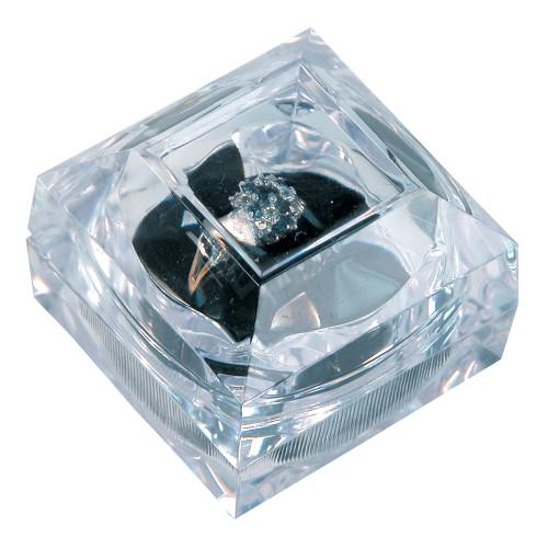 "Crystal clear ring box, 1 7/8"" x 1 7/8"" x 1 3/4""H"