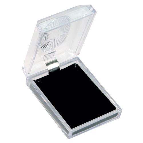 "Crystal clear pendant/earring box, 2 1/8"" x 2 3/4"" x 1""H"