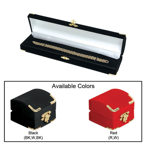 """Flocked Velour Clasped Bracelet/Watch Box , 8 3/4"""" x 2 1/8"""" x 1 3/8""""H , Choose from various Color"""