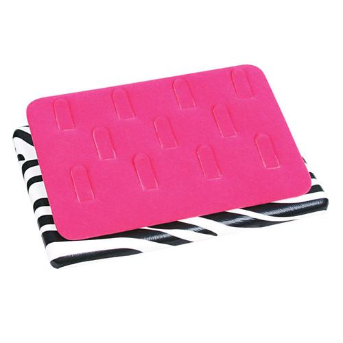 """11-Clip ring display, 6 1/2"""" x 4 1/2"""" x 1"""" ,Zebra-Pink Velvet"""
