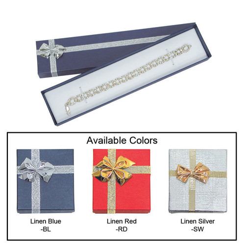 "Linen bow tie bracelet/watch box , 8"" x 1 7/8"" x 1"" , Choose from various Color"