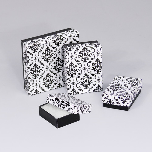 Black-White Damask Cotton Filled Boxes (Choose from various sizes), price for 100pcs