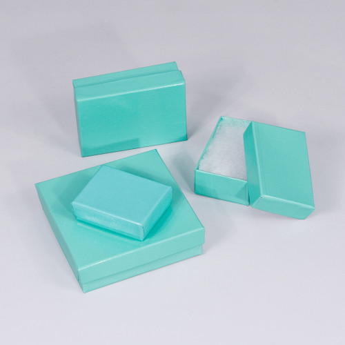 Teal Blue Cotton Filled Boxes (Choose from various sizes), price for 100pcs