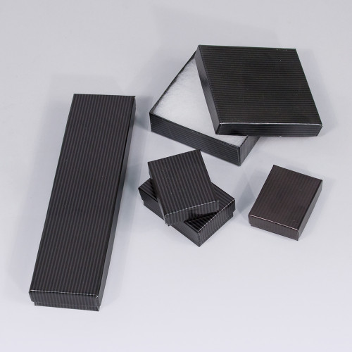 Black-Pinstripe Cotton Filled Boxes (Choose from various sizes), price for 100pcs