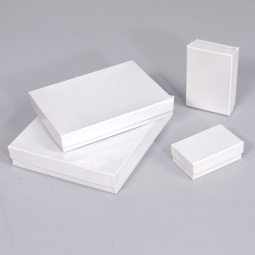 Glossy White Cotton Filled Boxes (Choose from various sizes), price for 100pcs