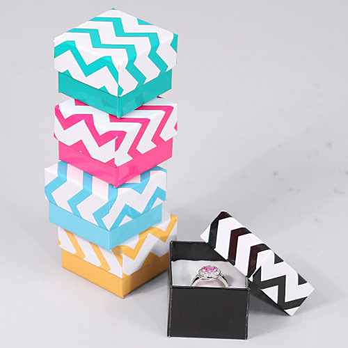 Chevron Assorted 5 color jewelry box, Choose from various Size , Price for 100 pcs