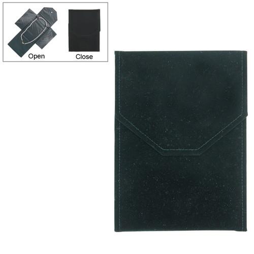"Necklace Leatherette Folder, 6"" x 8 1/4"", Black velvet with Black Satin"