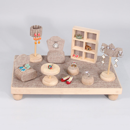 "9-Piece Mini Furniture Set, 16"" x 9 7/8"" x 8 3/8"", Burlap with Natural Wood Trim"