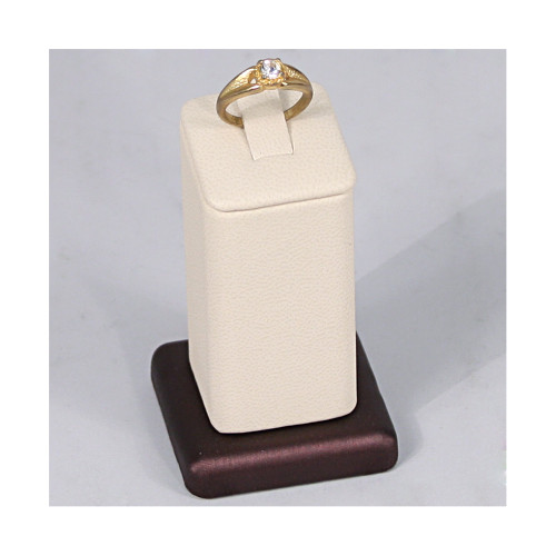 """Ring Clip Display, 1 3/4"""" x 1 3/4"""" x 3""""H, Premium Beige With Steel Brown Faux Leather"""