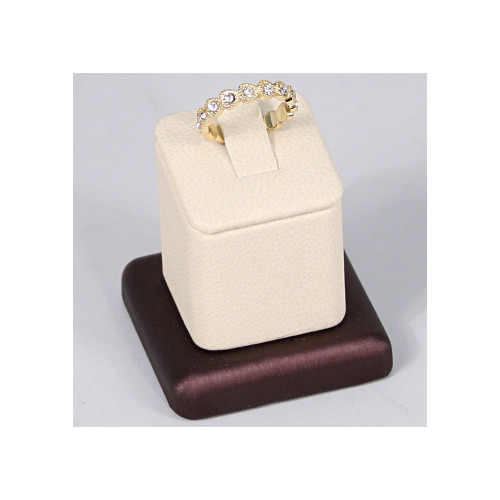 """Ring Clip Display, 1 3/4"""" x 1 3/4"""" x 1 3/4""""H, Premium Beige With Steel Brown Faux Leather"""