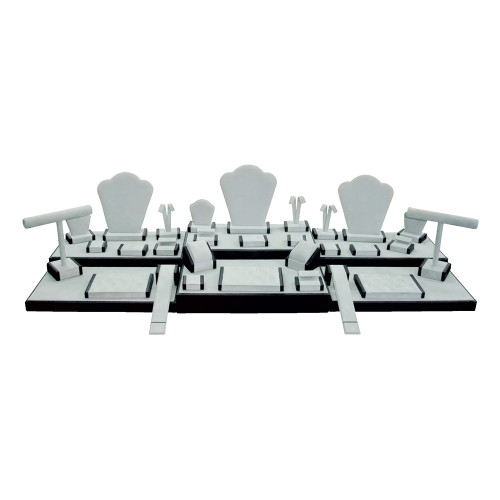 """35-Pieces Display Set, 44 1/4""""W x 16 1/2""""D x 10 3/4""""H, Grey Suede with Black Faux Leather Trim"""