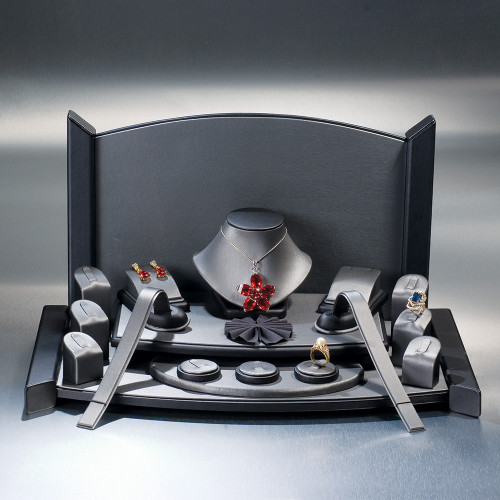 """19-Pieces Set, (Steel Grey Faux Leather with Black Faux Leather Trim),19"""" x 11"""" x 10 3/4""""H"""