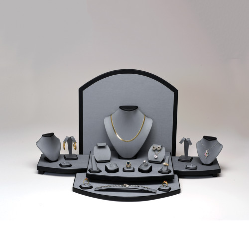 "26-Pieces Steel Grey with Black Trim Faux Leather Set, 27 3/4"" ~ 33 1/2"" x 15 1/2"" x 13 1/2""H"