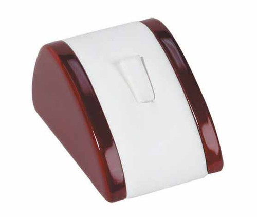 """1-Ring Clip,White Leather with Rosewood Trim Display, 2 1/8"""" x 3"""" x 1 5/8""""H"""