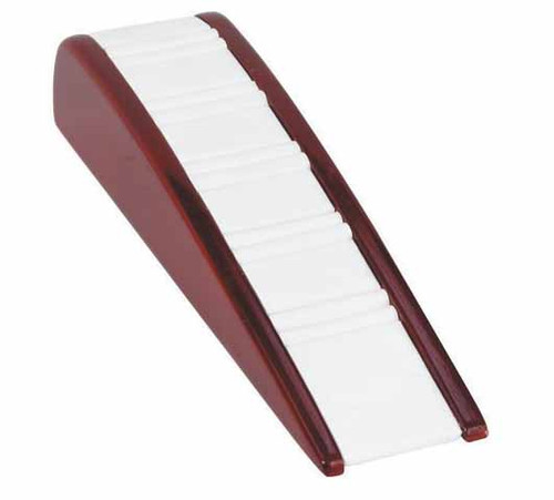 """4-Ring Slot,White Leather with Rosewood Trim Display, 2 1/8"""" X 8 1/4"""" X 1 3/4""""h"""
