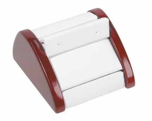 """1-Pair Earring ,White Leather with Rosewood Trim Display, 2 7/8"""" x 3"""" x 1 5/8""""H"""