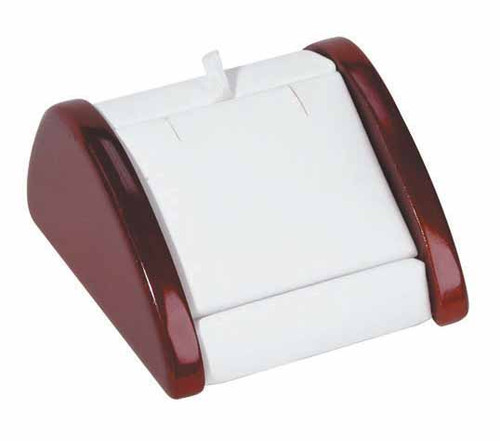 """1-Pair Earring ,White Faux Leather with Rosewood Trim Display, 2 7/8"""" x 3"""" x 1 5/8""""H"""