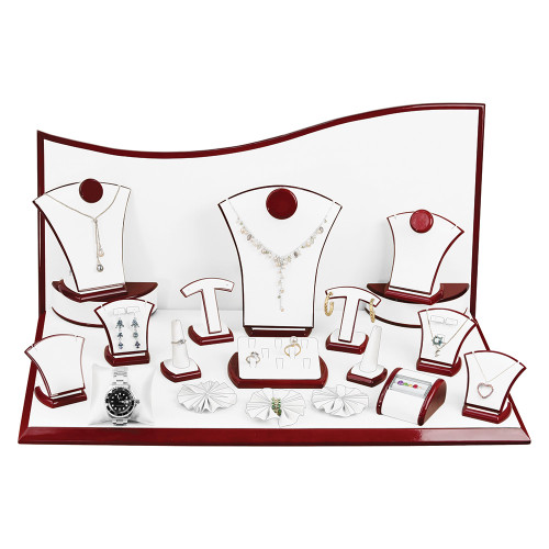 """22-Pieces, White Leather with Rosewood Trim Display Set, 26"""" x 14 1/2"""" x 13""""H"""