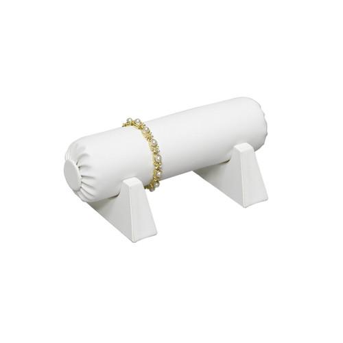 """Bracelet Bar, White Faux Leather, 8"""" x 4 1/4""""  x 3 3/4""""H"""