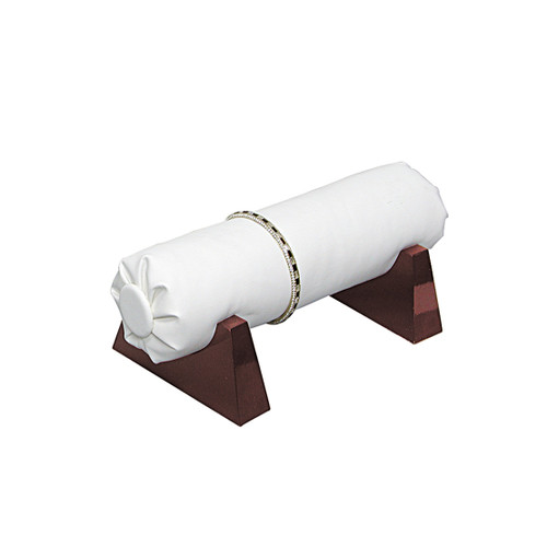 """Bracelet Bar, White Faux Leather with Rosewood Base, 8"""" x 4 1/4""""  x 3 3/4""""H"""