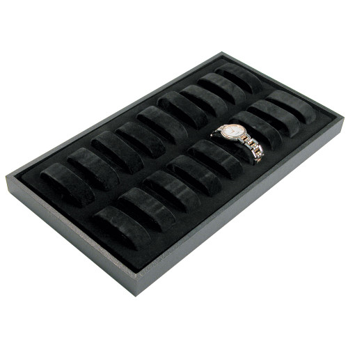 """18-Collars Watch Case, 14 3/4"""" x 8 1/4"""" x 1 1/8""""H, Black Leatherette Wooden Tray"""