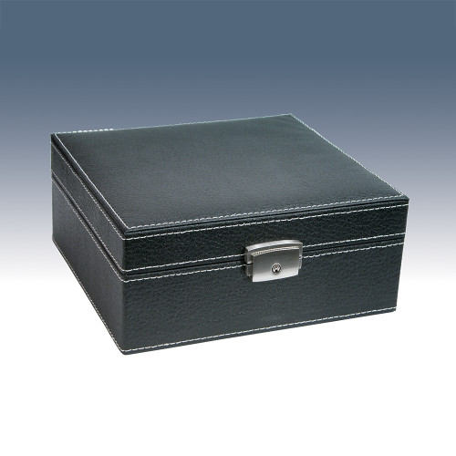"6-Watch Wooden Box, Texture Faux Leather , 7"" x 6 5/8"" x 3 1/8""H"