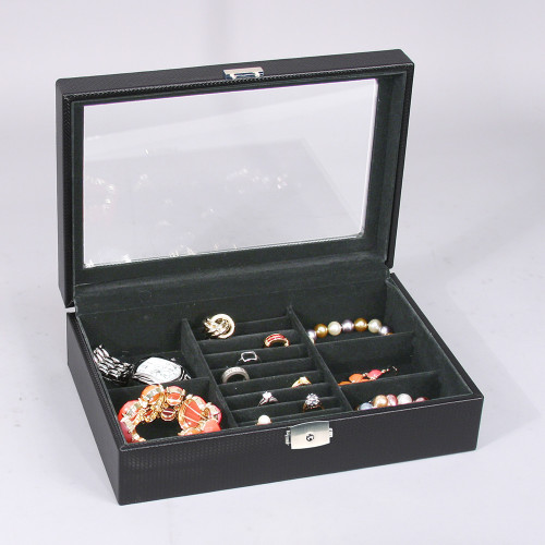 "Glass top View ,8-Ring Slot/5-Compartments  Box, 11 5/8"" x 8"" x 3 1/4""H, Black Velvet Inside,Choose from various color"