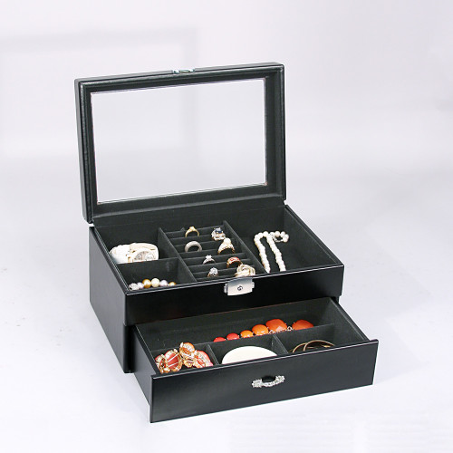 "Glass top View ,8-Ring Slot/7-Compartments  Box, 11 5/8"" x 8"" x 7 1/4""H, Black Velvet Inside,,Choose from various color"