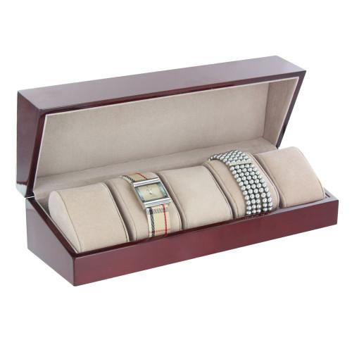 "Rosewood / Almond  5-Pillow Watch Case, 11 7/8"" x 3 7/8"" x 3 1/4""H"