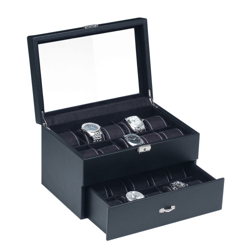 "Glass View , 20-Watches Box, Simulated Carbon Fiber Pattern case/ Black Velvet Pillows , 11"" x 8"" x 7 1/4""H"