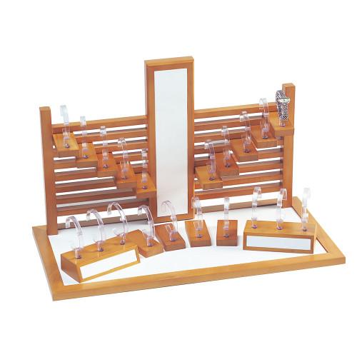 "20-Watches Display Set, White Leather / Oak Wood Trim, 25 3/4"" x 13"" x 16 1/2""H"