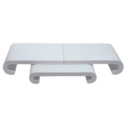 """3-Pieces Curved Base Set, 30 1/4"""" x 12"""" x 4 1/8""""H,White Leather"""
