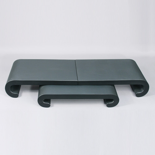 """3-Pieces Curved Base Set, 30 1/4"""" x 12"""" x 4 1/8""""H, Steel Grey Leather/ Black Leather Trim"""