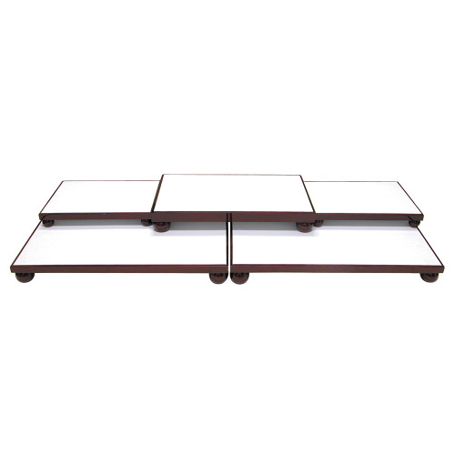"""5-Pieces Base Set, White Leather/ Rosewood Trim, 40 1/4"""" x 16"""" x 4 1/2""""H"""