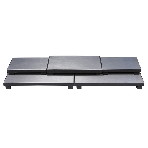 "5-Pieces Base Set, Steel Grey Leather/ Black Leather Trim, 40 1/4"" x 16"" x 4 1/2""H"
